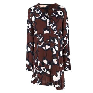 Marni Abstract Patterned V-Neck Mini Dress