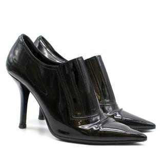 Valentino Black Patent Leather Pointed Booties