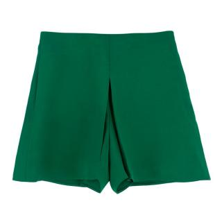 Valentino Green Pleated Shorts
