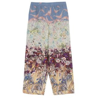 Valentino Floral Print Silk Trousers
