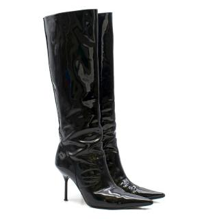 Dolce and Gabbana Black Patent Leather Knee High Boots