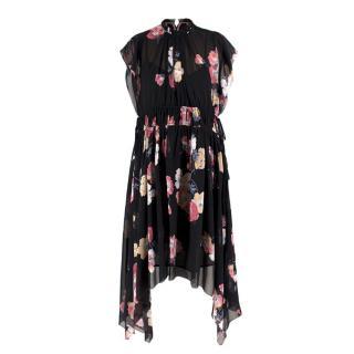Ulla Johnson Floral Silk Asymmetric Dress