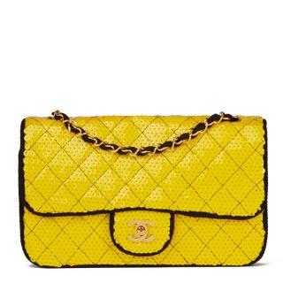 Chanel Sequin Yellow & Black Fabric Vintage Classic Single Flap Bag