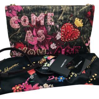 Dolce & Gabbana brocade sequined crystals shoulder & clutch bag