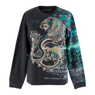 Roberto Cavalli Navy Embroidered Sweatshirt