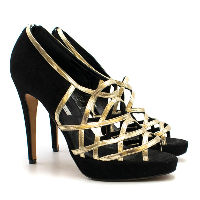 Brian Atwood Brown Suede & Gold Lattice Style Sandals