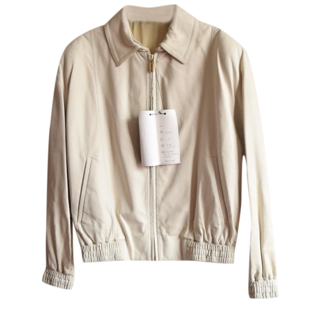 Zilli point-collar beige leather jacket