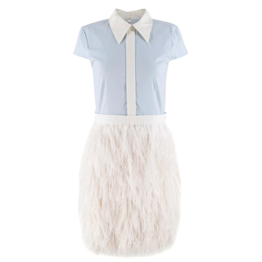 Mihano Momosa Blue and White Feather Dress