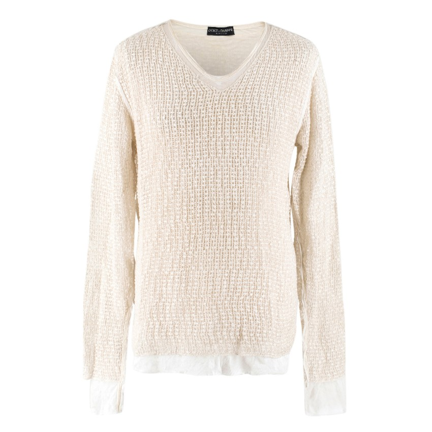 Dolce & Gabbana Cream Cotton & Linen-blend V-neck Pullover