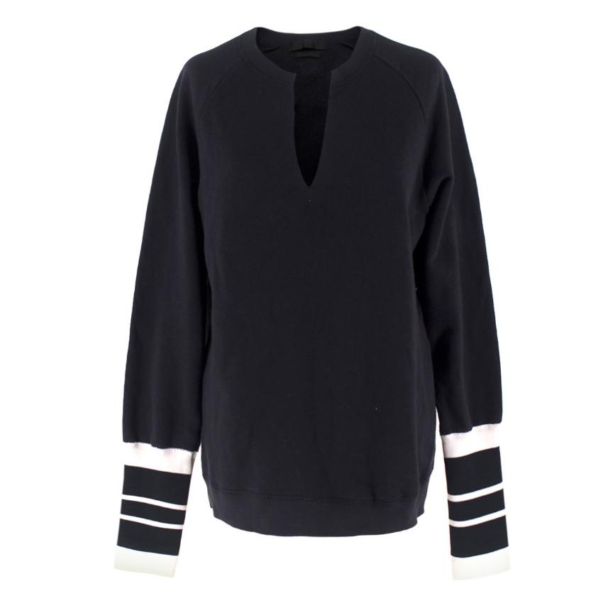 Alexander McQueen Striped Cuff V-Neck Sweatshirt