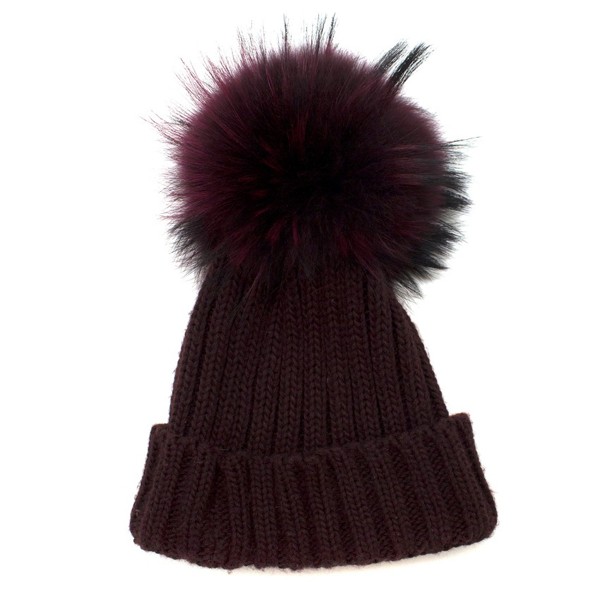 Bespoke Burgundy Fox Fur Bobble Hat  c487ccf2d4d