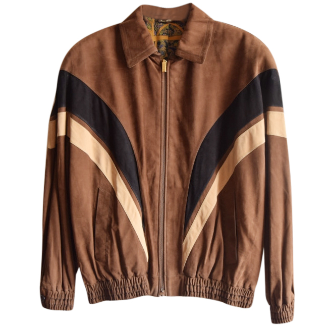 Zilli point-collar tan suede calf leather jacket