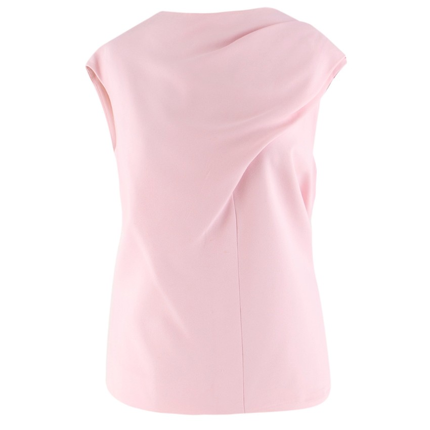 Balenciaga Pink Gathered-Shoulder Sleeveless Top