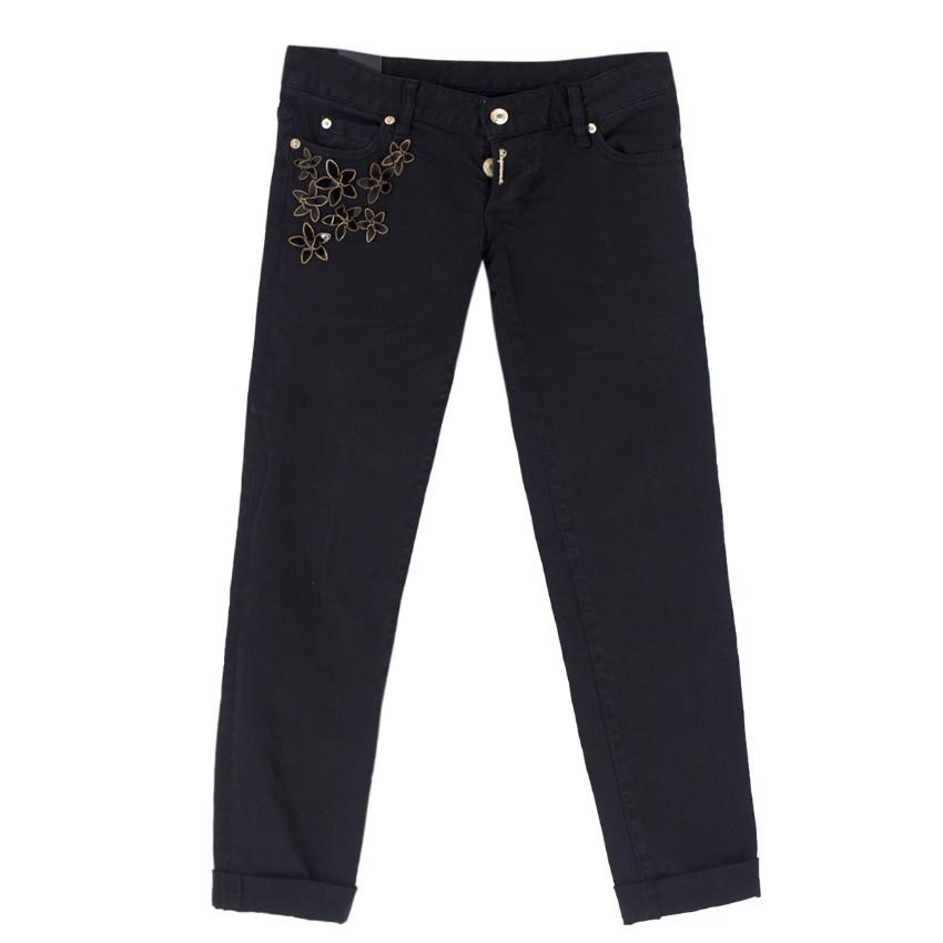 Dsquared Black Floral Embellished Jeans