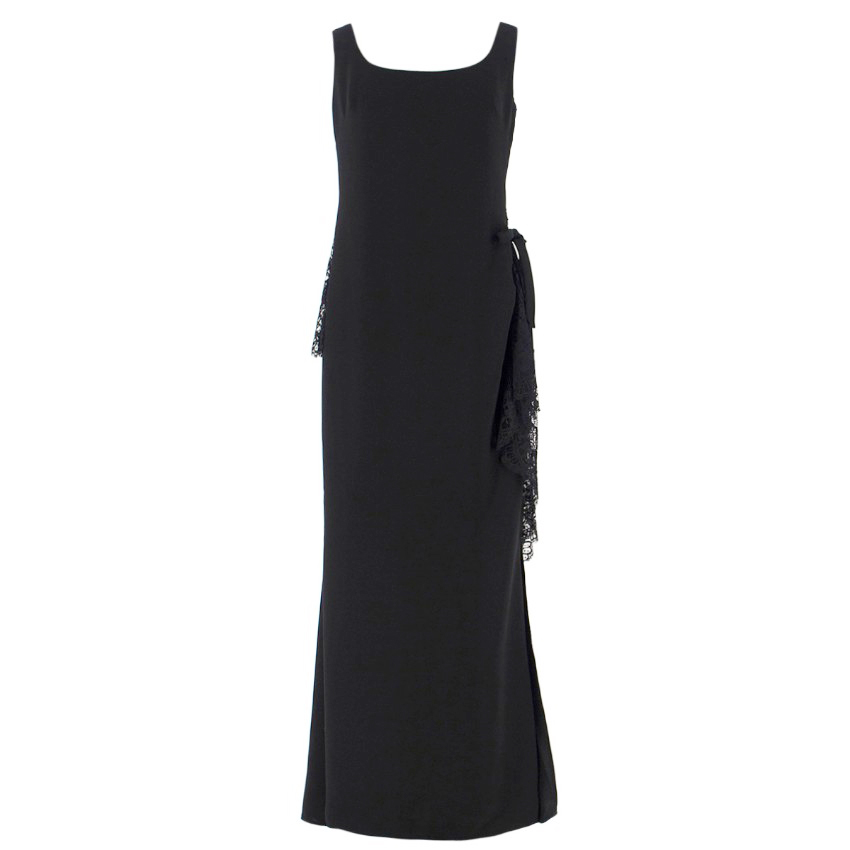 Elie Saab Black Embellished Lace Ruffle Gown