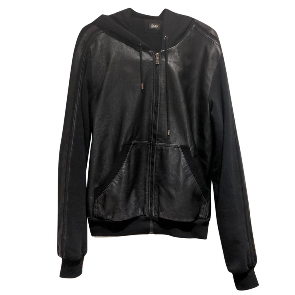 Dolce & Gabbana Black Leather Hooded Zip-Through Sweatshirt