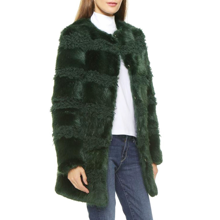 Shrimps Bobbin Collarless Faux-Fur Coat