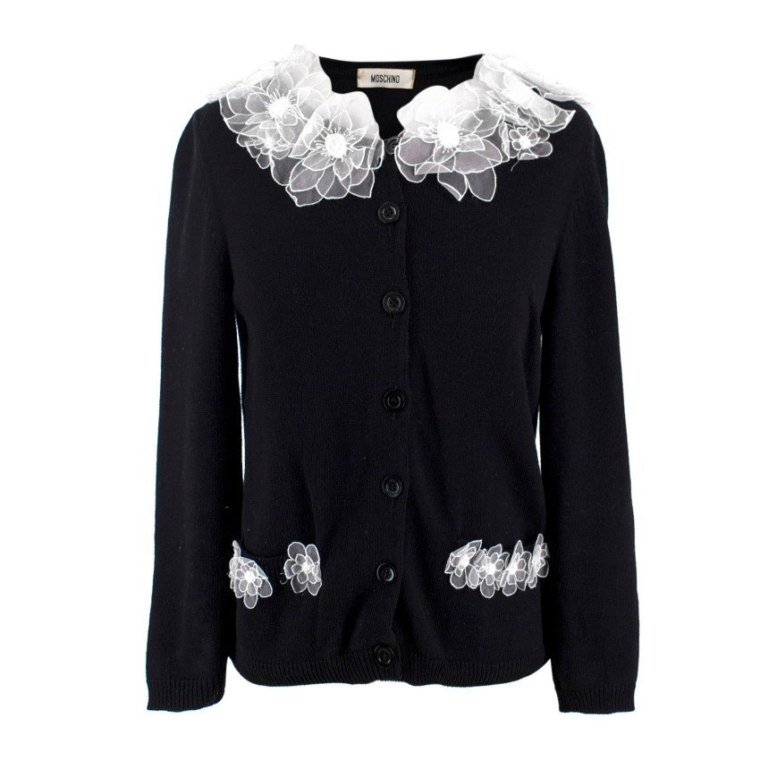 Moschino Black & White Floral Trim Cardigan