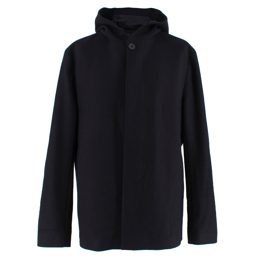 Cos black hooded wool blend coat