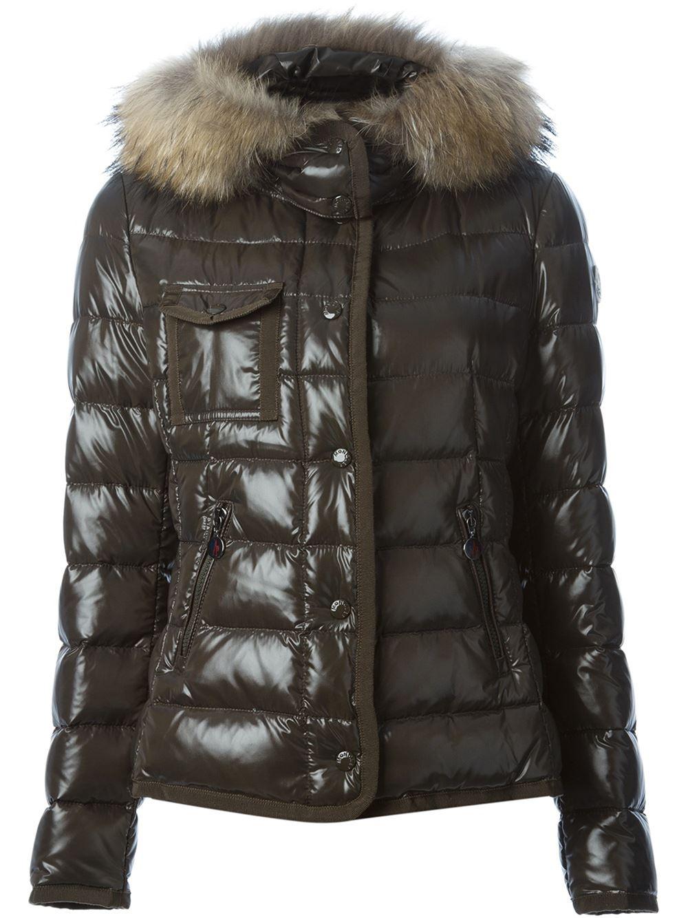 Moncler Military Green Armoise Down Jacket W/ Racoon Fur Hood