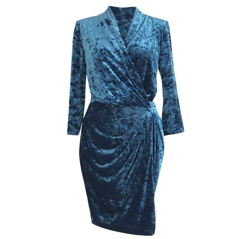 Catherine Malandrino Teal Blue Crushed Velvet Wrap Dress