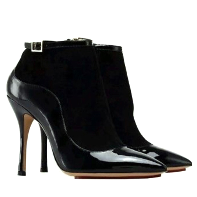 Charlotte Olympia patent leather & suede ankle boots