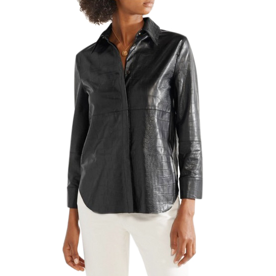 Nanushka Naum Croc-effect Vegan Leather Shirt