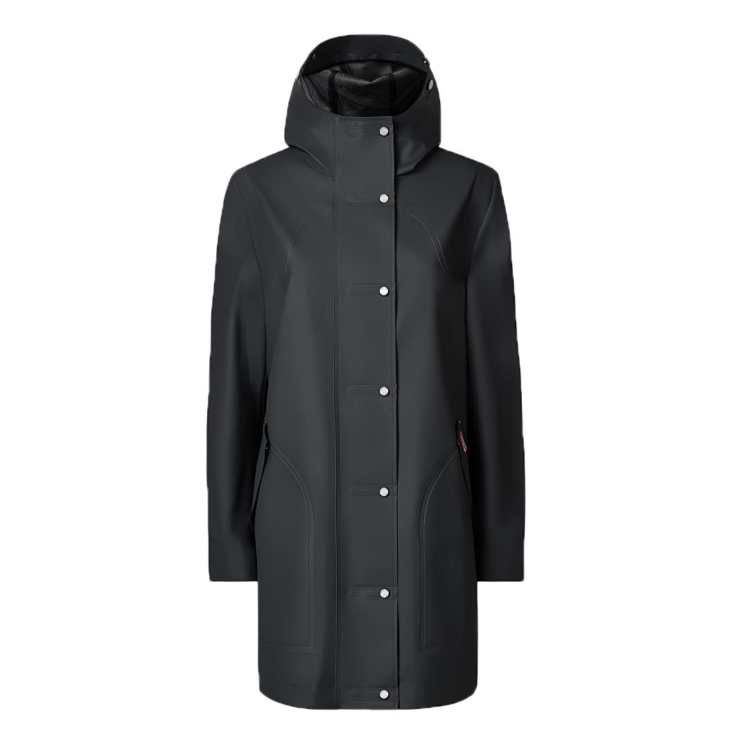 Hunter dark-slate rubberised hooded coat