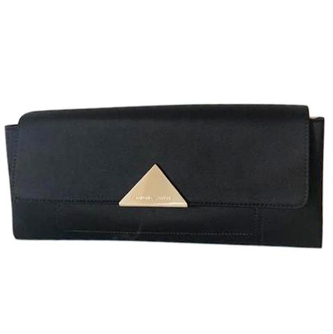 Emporio Armani Black Satin & Leather Clutch