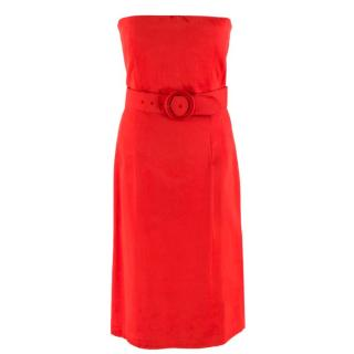 McQ Red Satin Strapless Belted Dress
