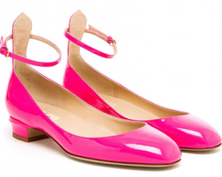Valentino Tango Mary Jane Neon Pink Patent Leather shoes sz37