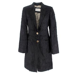 Aquascutum Black Textured Felt Coat
