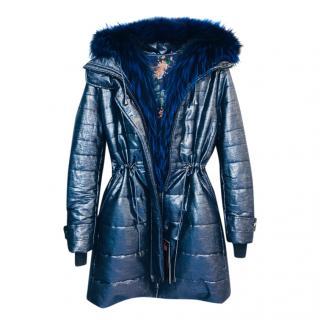 Mala Mati Fox Fur Trim Blue Coat