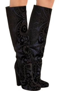 Paul Andrew Elder Appliqued Suede Knee High Boots