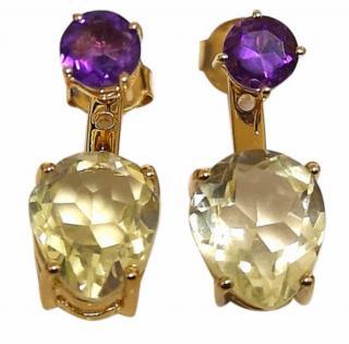 Missoma Gold Quartz & Amethyst Drop Ear Jackets