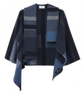 HOLZWEILER Wool Tableau Denim Asymmetric Kimono Poncho
