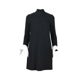 VICTORIA VICTORIA BECKHAM BLACK WOOL KNEE DRESS MOCK NECK DRAPE CUFF UK10 US6