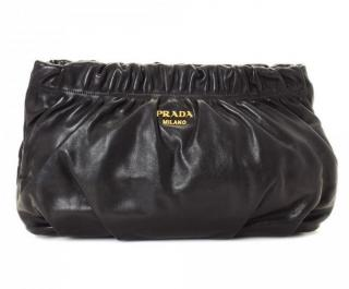 Prada Vitello Leather Gathered clutch