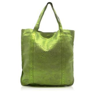 Anya Hindmarch Metallic Green Leather Shopper Bag