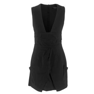 Isabel Marant V-Neck Tulip Hem Little Black Dress