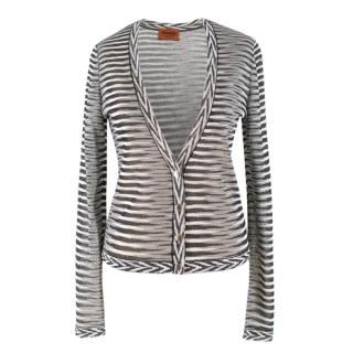 Missoni Black and White Striped Cardigan