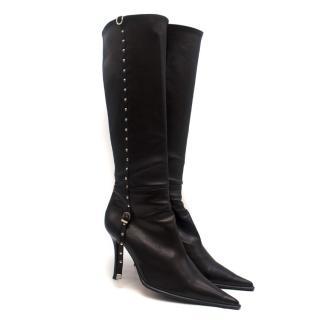 Gianmarco Lorenzi Black Pointed Knee-High Leather Stiletto Boots