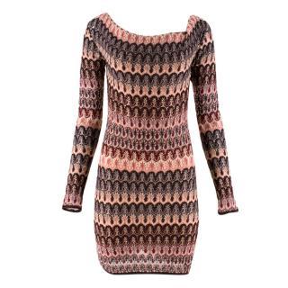Missoni Knit Draped Boat Neckline Fitted Mini Dress