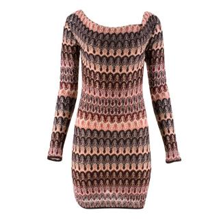 Missoni Knit Draped Boat Neckline Fitted Mini Dress