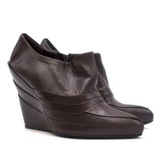 Miu Miu Brown Pleated Leather Pointed Wedge Booties