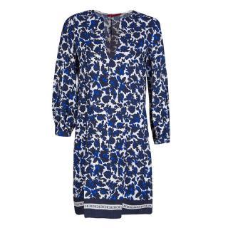 CH by Carolina Herrera Silk & Linen-Blend Floral Tunic Dress