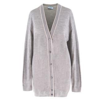 Prada Grey Wool & Silk-Blend Cardigan
