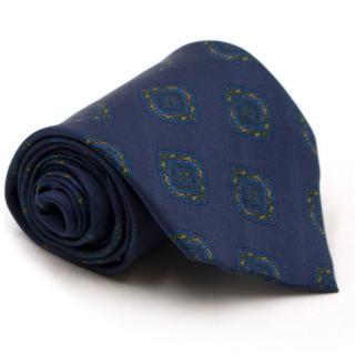 Mr Missior Navy Printed Silk Tie
