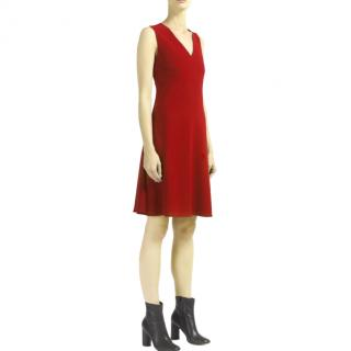 Joseph Burgundy Stretch-Crepe Polly Dress