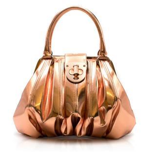 Alexander McQueen Metallic Copper Pleated Leather Handbag